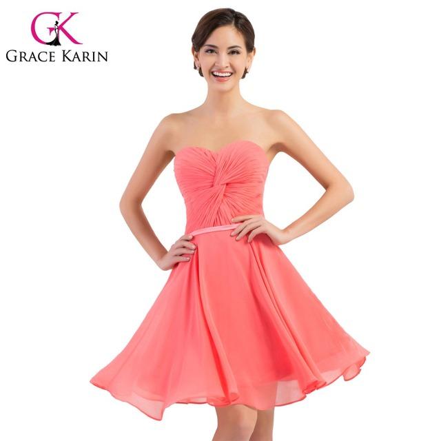 Очаровательная арбуз красный короткие платья невесты до колен шифон короткие платья ...