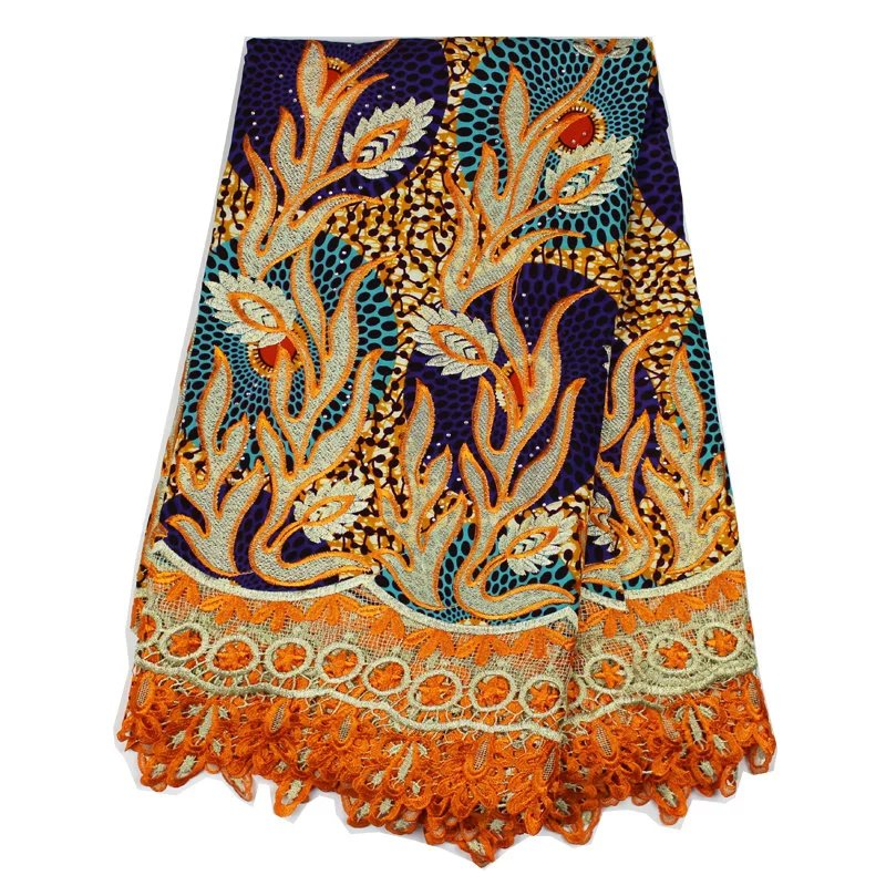 Graceful party dress material Ankara super batik wax fabric with cord lace for garments Soluble lace stone (T(China (Mainland))