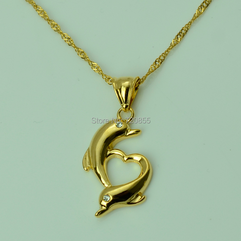 lovely dolphins 18k necklace pendant free chain