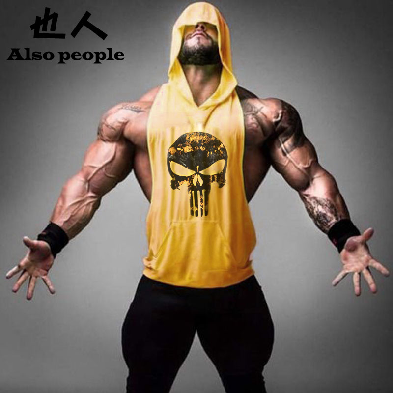 Skull ZYZZ Golds Bodybuilding Stringer Hoodies Gym Stringer Hoodie Fitness Brand Tank Top Men Clothing Cotton Pullover Hoody(China (Mainland))