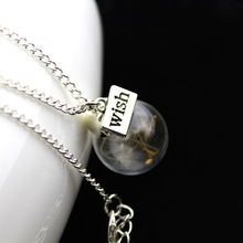 2016 Korean Jewelry Natural Dried Flowers Necklaces & Pendants Dandelion Seed Wish Letter Sweater Chain Necklace For Women(China (Mainland))
