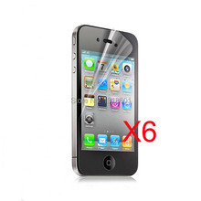 Free Shipping 6X Clear LCD Screen Protector Guard Cover For Apple iPhone 4 4S 4GS