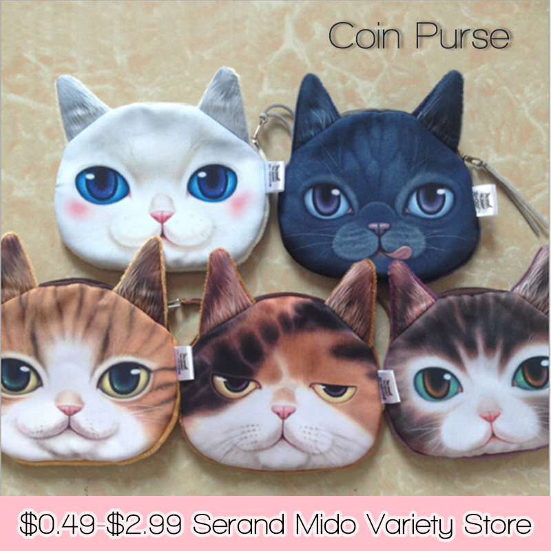 animal cat mini 3D printed kids coin purse wallet fashion cartoon makeup buggy women makeup buggy money Bag Pouch SMDZ127(China (Mainland))