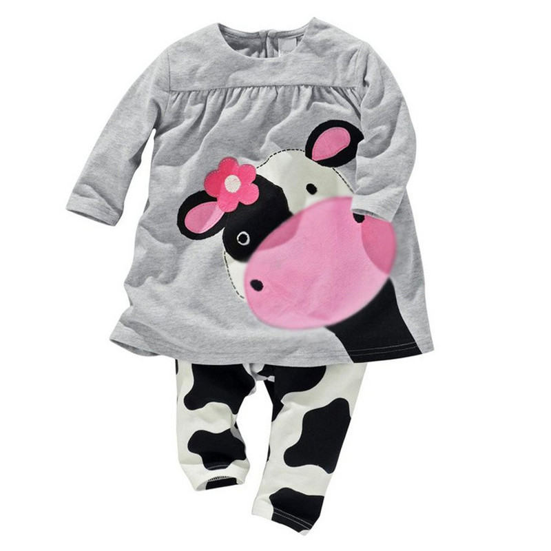 2016 winter hot sale baby girl clothes casual long-sleeved T-shirt+Pants suit Tracksuit cow suit kids clothing set(China (Mainland))