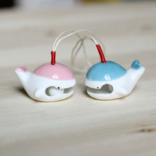 Jingdezhen Handmade Original Jewelry Whale Home Accessories Ceramic Decoration Hangings Door Trim Wind Bell Chimes Car Decor