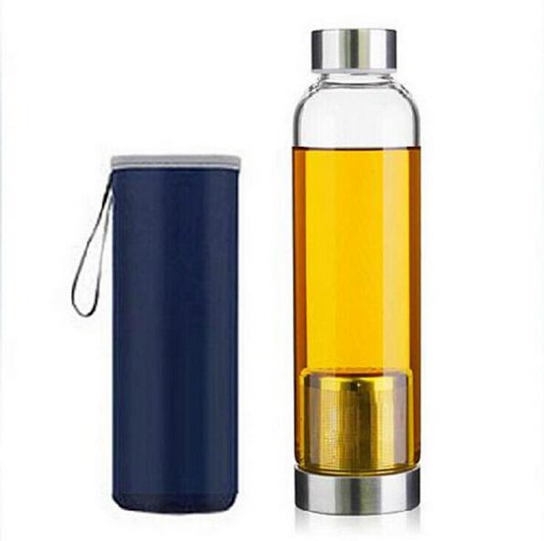 2015 new sport outdoor Portable Real Borosilicate Glass Water Tea Bottle 550ml Travel Mug Carafe Nylon Sleeve with Tea Infuser(China (Mainland))