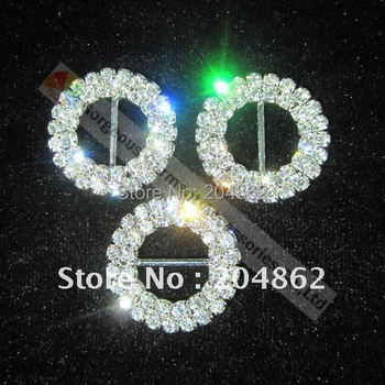 100pcs/lot  25mm Round Czech Crystal Rhinestone Ribbon Buckle in Sliver for wedding Invitations