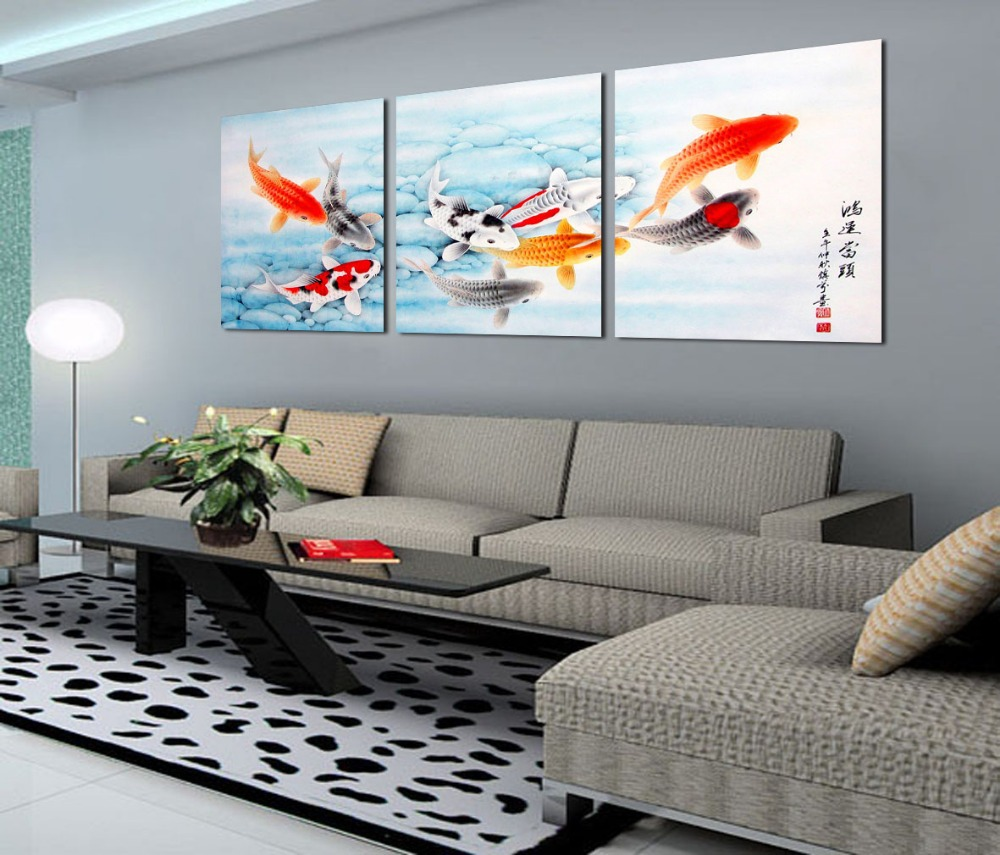 Koi fish wall art fashion home decoration 3 piece canvas for Large wall art for living room
