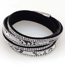 Newest double wrap bracelet with Crystal bracelets snake skin PU leather,magnetic bracelets B1439(China (Mainland))