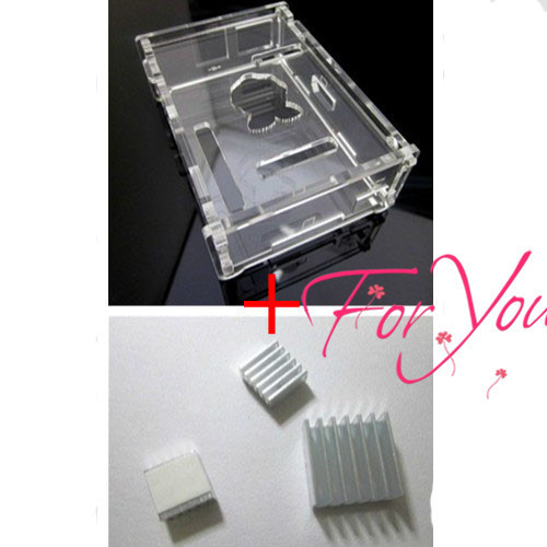 With Tracking Number High Quality Case For Raspberry Pi Computer + pure aluminum heat sink set kit (3pcs/kit)
