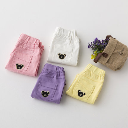 Korean summer children girls candy-colored pant small pure white powder purple pencil pants bottoming Kids(China (Mainland))