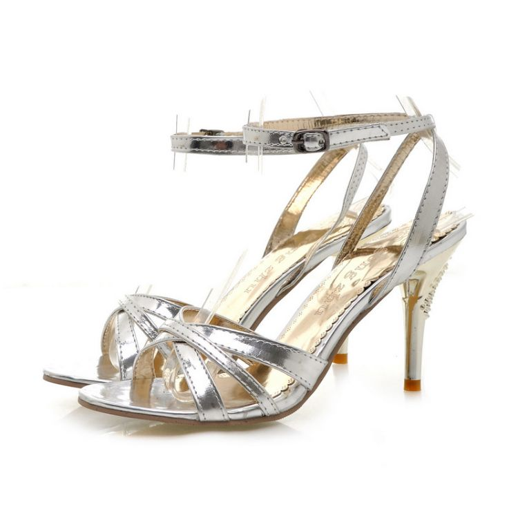 Sexy open toe high heels ultra thin heels sandals female shoes plus size 40 41 42 43 small 31 32 33
