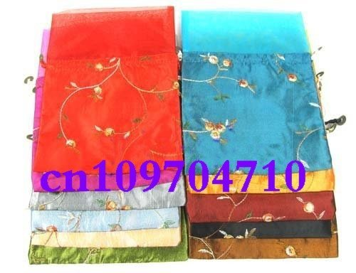 Free shipping! lots 30pcs chiffon Silk Brocade Pouches bags Organza Drawstring silk bag