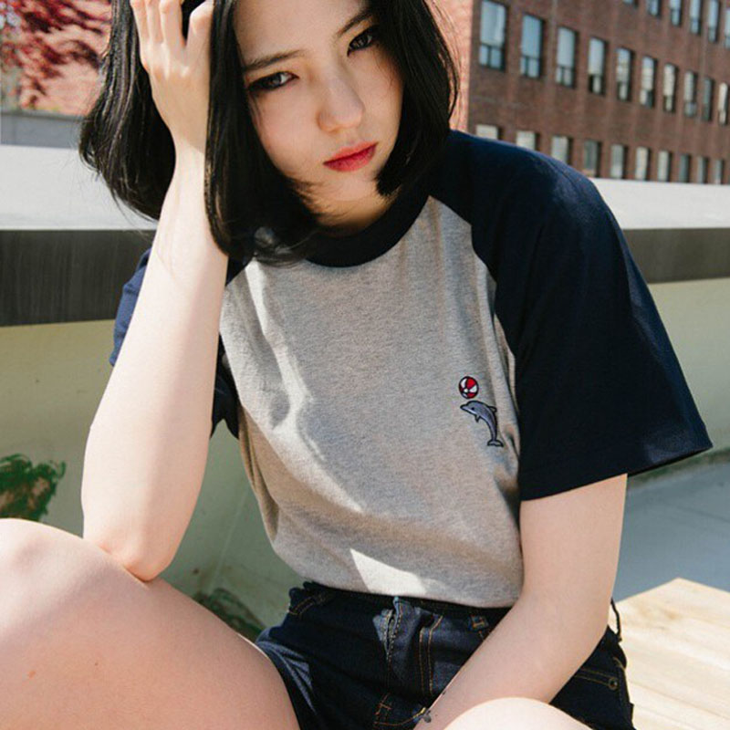 Fashion Blusas 2016 Summer Style Tee Shirts Korea ulzzang Harajuku Dolphin Embroidered Short Sleeved T Shirt Women Casual Tops(China (Mainland))