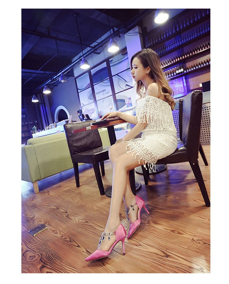 Fashion Genuine Leather Thin High Heels Women Pumps Sexy Rhinestone Pointed Toe Party Shoes New Arrival Women Shoes ZX2.5