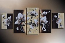 Buy Hand Painted Flowers Painting Oil Canvas Landscape Beautiful 5 Panel Wall Art Home Decor Modern Abstract Picture Canvas Art for $24.19 in AliExpress store