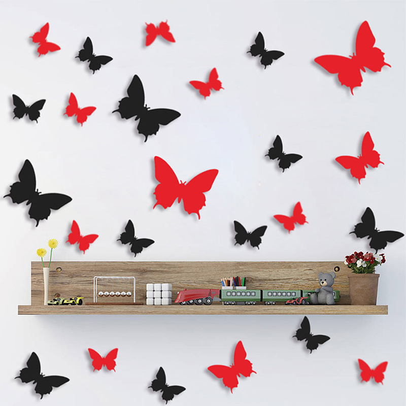 12Pcs Hot Sale Beautiful DIY 3D Butterfly Wall Stickers Art Decal PVC Double-sided Sticker Paper For Office Home Decoration(China (Mainland))