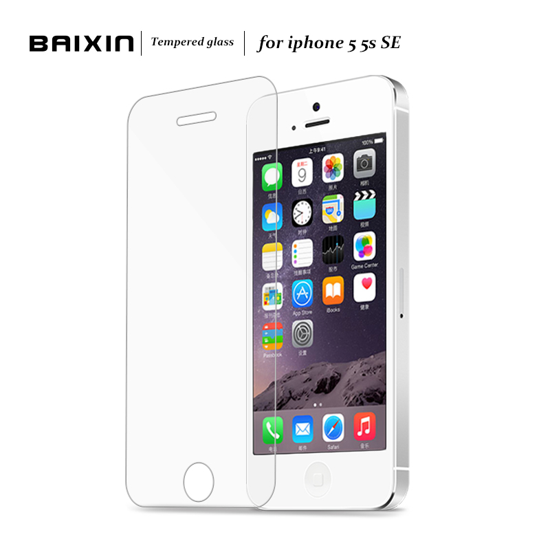 Original Baixin 0.3mm 2.5D Tempered Glass Screen Protector For iPhone 5 5S 5c SE HD Toughened Protective Film + Cleaning Kit(China (Mainland))