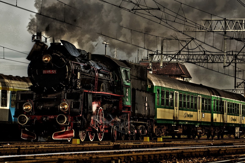Giclee Canvas Prints Stretched Framed Fine Art Artwork For Wall Decor Railway Train Poland Polish(China (Mainland))