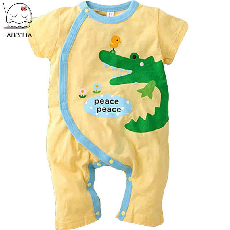 Гаджет  Crocodile And Elephant Design Baby Romper Short Sleeve Cartoon Boys Girls Jumpsuit Summer Children