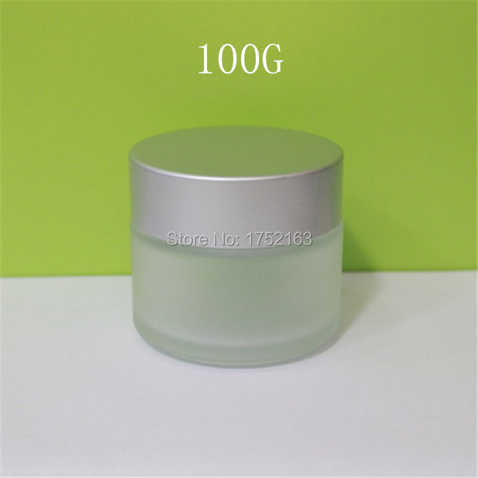 100g Frosted Glass Bottles,cosmetics packaging with matt Silver lid, mask bottle,cream jars, glass jars, cosmetic container(China (Mainland))