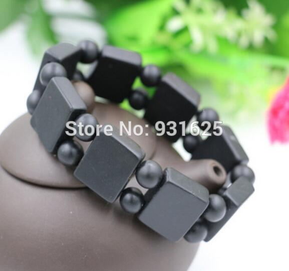Natural Black Bian-Stone Health Energy Elastic Bracelet Traditional Chinese Medicine Scraping Black Stone Bracelet Beauty Care