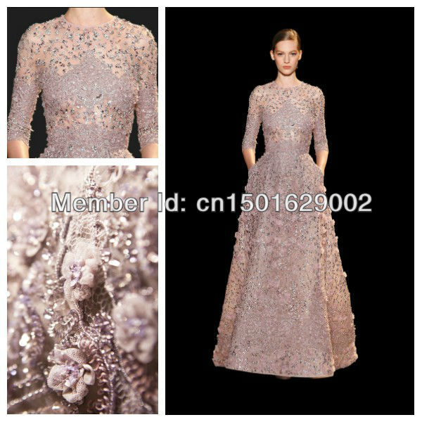 ph0823 elie saab lilac fully embroidered gown with 3/4 sleeves plus size 3/4 sleeves long dress(China (Mainland))
