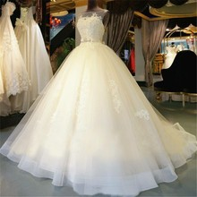 2016 Full Puffy Skirt Ball Gown Real Photos Lace Beading Bridal Dresses See Through Pearls Popular Wedding Dresses(China (Mainland))
