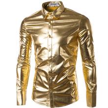 Mens Trend Night Club Coated Metallic Gold Silver Button Down Shirts Stylish Shiny Long Sleeves Dress Shirts For Men(China (Mainland))