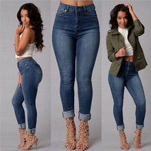 2016 new style autumn spring fashion jeans Full Length Mid waist Pencil Pants Zipper Fly skinny