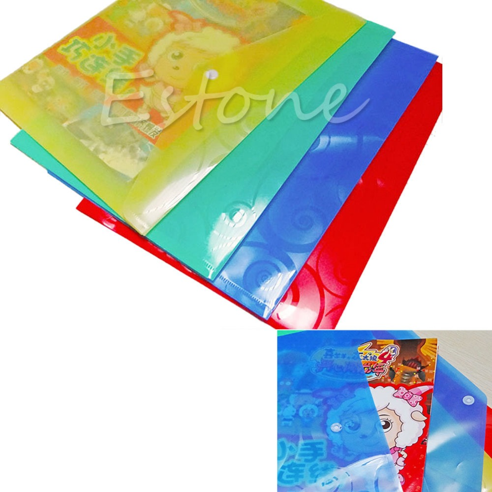 C18 Free Shipping 5in1 A4 Stud Plastic Colorful Files Folders Document Wallet Office Depot Study(China (Mainland))
