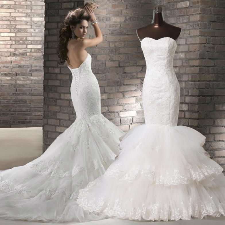 Luxury 2015 train real sample photo wedding dress fashion for Aliexpress mermaid wedding dresses