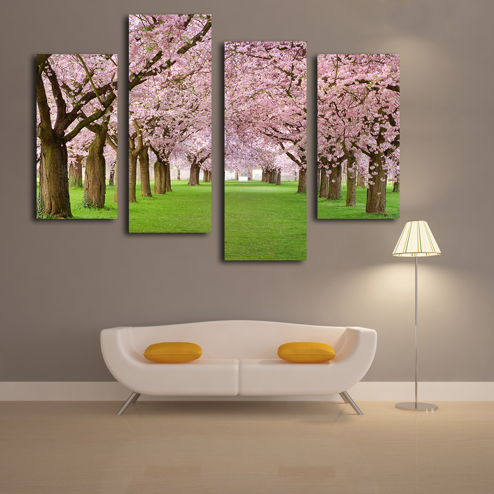 Beautiful cherry blossom Tree canvas paintings landscape painting wall picture for office(China (Mainland))