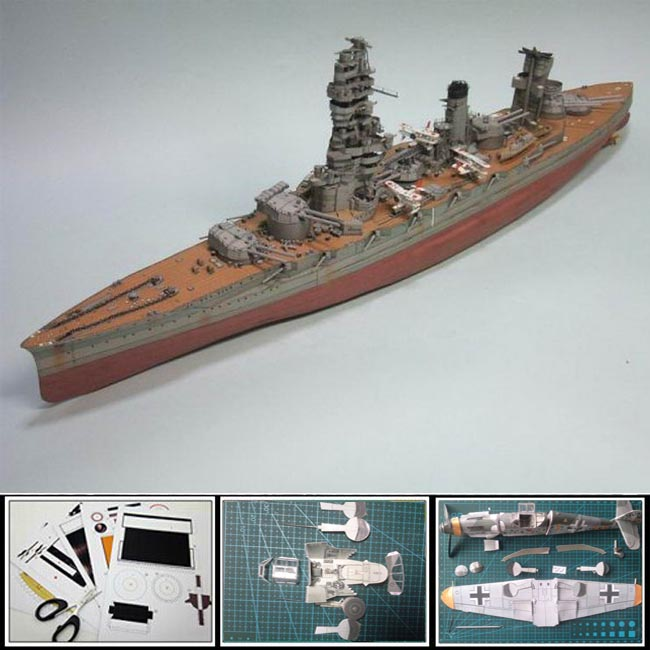 Paper Model ships Japanese battleships Fuso Heavy Cruiser 1:250 scale 80cm long Military Models 3d puzzles toys diy papercraft(China (Mainland))