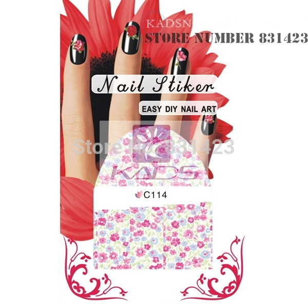 HOTSALE C114 Mix Styles Flower Water Decals Rose Tulip Peony Designs Packing Nail Art Stiker Manicure Tools Nail decoration(China (Mainland))