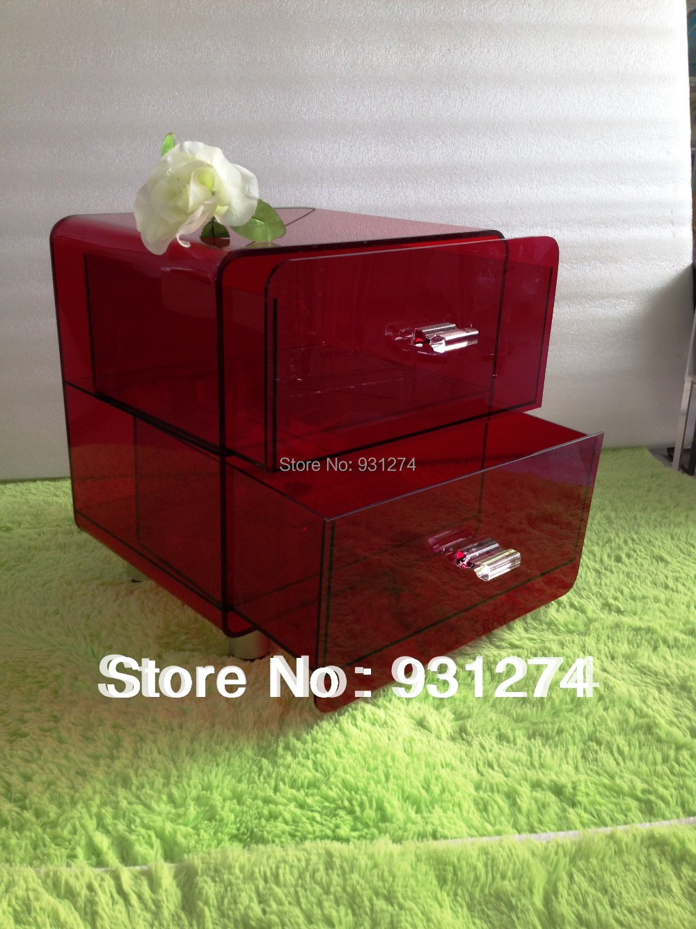 100% high quality acrylic lucite side table with drawer box<br><br>Aliexpress