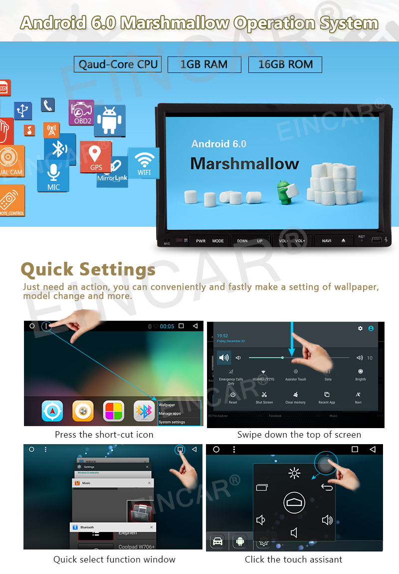 Eincar Android 6.0 Universal Head unit Double Din Car Stereo GPS sat nav DVD Player 7.0 inch In Dash support GPS/Navi/USB input/