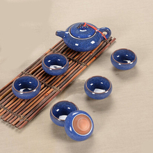 Tea set seven sets (Blue), Kung Fu tea wholesale The highest sales of tea set.The most creative Coffee cup
