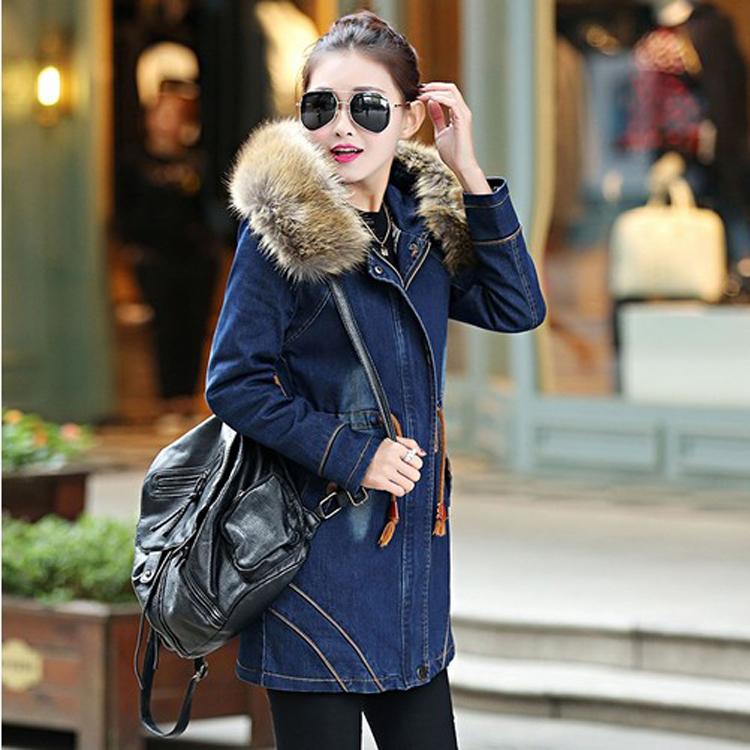 Winter Hooded Denim Parkas for Women Plus Size Cotton Womens Casual Jean Parka Coat Slim Jacket Woman Outwear Female Blue H6742