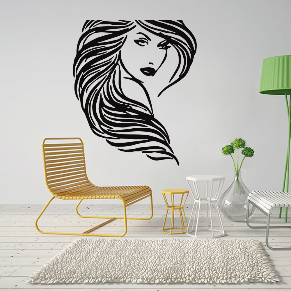 Creative Black Portrait Plane Wall Stiker For Living Room Bedroom Single Peice Package Decoration Home Decor Adesivo De Parede(China (Mainland))