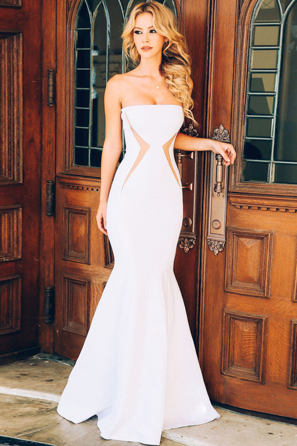 Luxury Elegant White Women Sexy Mermaid Net Evening Party Formal Gown Maxi Dresses Long Evening Dress Prom Dresses(China (Mainland))