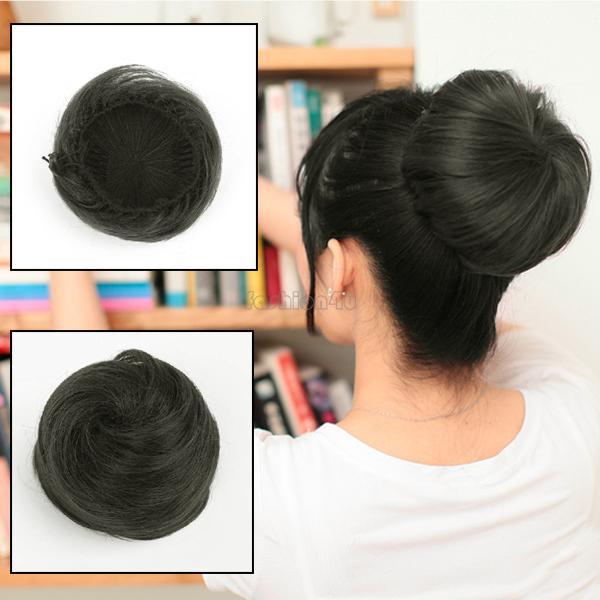 EQ7446 Hair bun updo girl drawstring chignon hairpiece scrunchie black(China (Mainland))