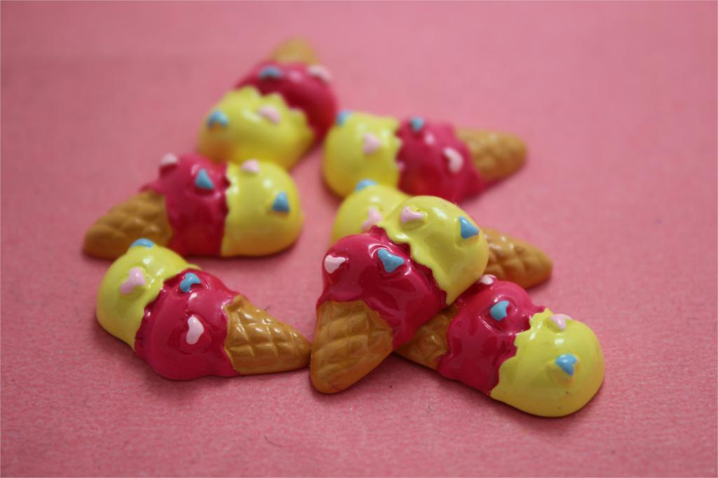 10pcs/ 20x10mm resin Decoden Sweety Double Scoops Ice Cream Cabochon hot pink yellow(China (Mainland))