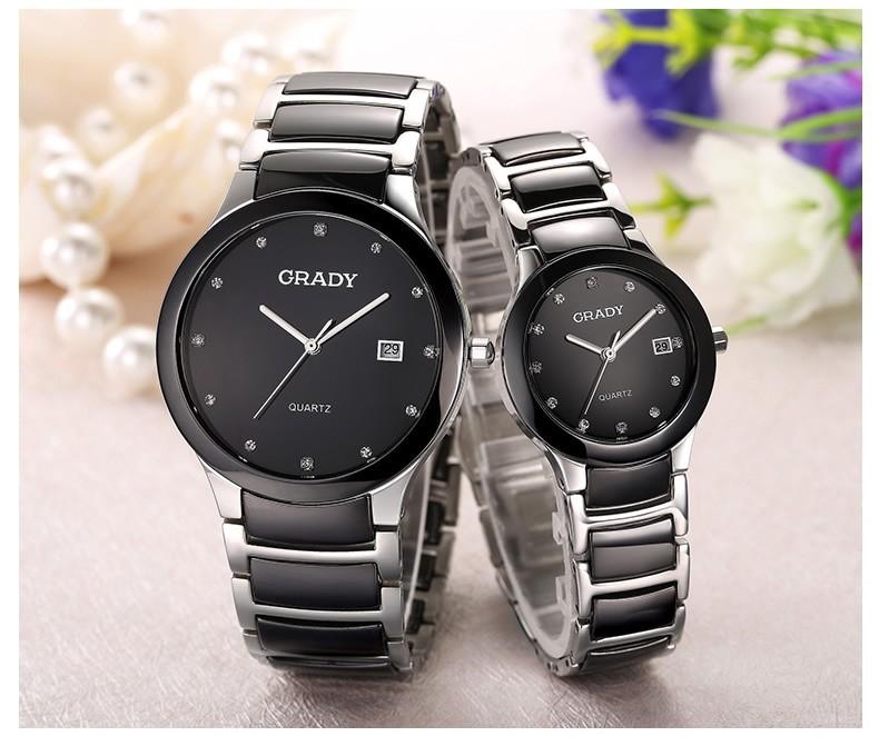 Грейди белый черный циферблат керамические часы аналоговые кварцевые мужские часы из розового золота серебряный браслет мужской наручные часы