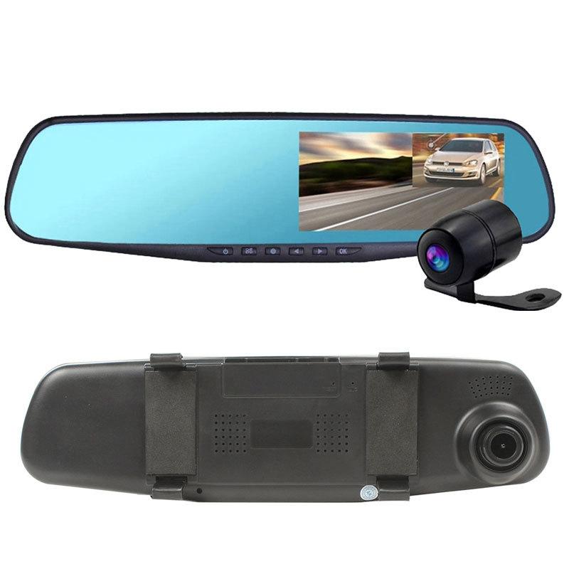 Dual Camera Car Dvr Camera Rearview Mirror Dash Cam G-Sensor HD 1080P 4.3'' 140 Degree High Quality Free Shipping(China (Mainland))
