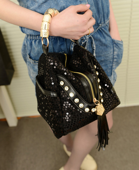 Free Shipping Bags 2013 women's handbag paillette vintage pyramid fashion rhinestone tassel women's one shoulder handbag