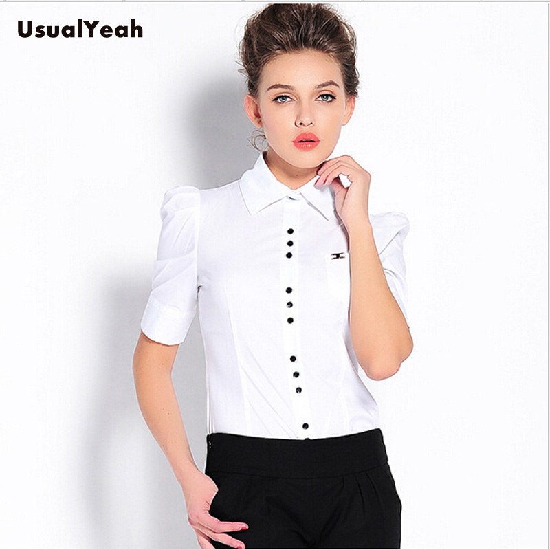 Plus size 2016 Women Fashion Summer Style Short Sleeve OL Formal Body Shirt Button Ladies Blouse Work wear White Red Blue S-XXXL(China (Mainland))