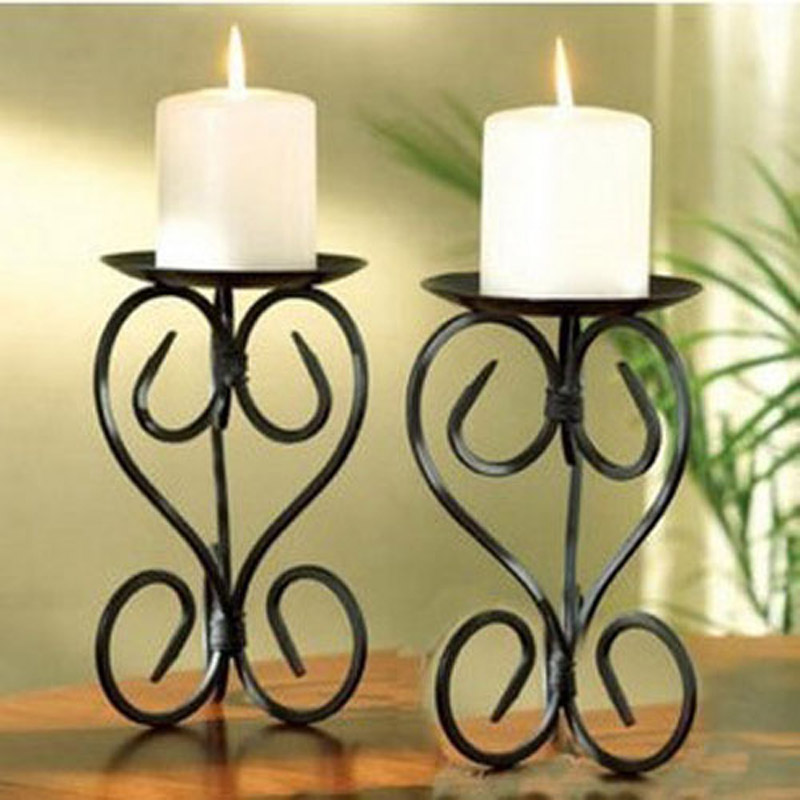 Metal candle holders stand pillar iron black Europe for Christmas wedding birthday decoration portavelas candelabra(China (Mainland))
