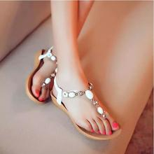 2016 New summer Women pearl rhinestone shoes woman comfortable flat sandals flip sandals for women