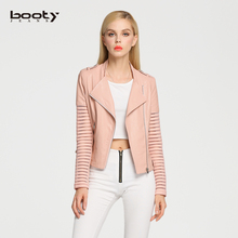 2016 Spring New Women Faux Leather Jacket PU Jackets Hollow Out/Black/Pink/Short/Slim 5002(China (Mainland))